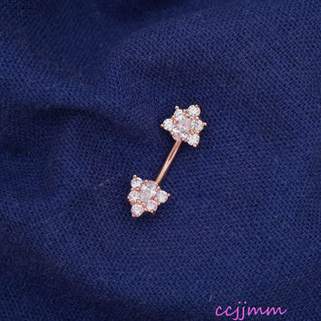 Belly ring, triangle belly button ring, belly piercing, belly jewelry, zircon,14g