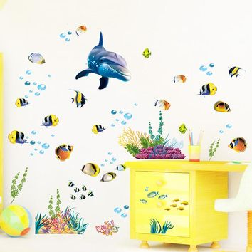* 3d  big dophin ocean fish diy kids bedroom baby rooms home decor bathroom waterproof PVC wall stickers new year wallpaper