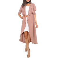 Fashion Coffee Lapel Long Sleeve Trench
