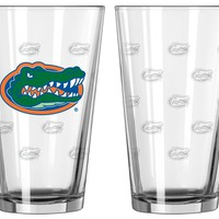Florida Gators Satin Etch Pint Glass Set