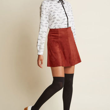 Flirt Alert Faux-Suede Mini Skirt