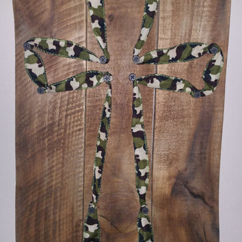 NEW Rustic Military Wood Wall Cross / Army Wall Cross / Camo Print Wooden Cross