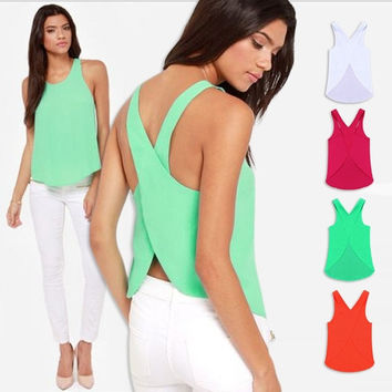 Stylish Summer Womens Candy Color Spaghetti Shirt Chiffon Strap Top Vest  F_F = 1902548484