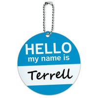 Terrell Hello My Name Is Round ID Card Luggage Tag