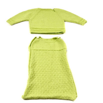 Knitting newborn set, Knitted baby envelope + sweater, green knitted set, Infant Bunting, 0-6 m