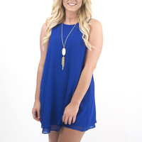Women's Royal Blue Woven Tank Layered Dress