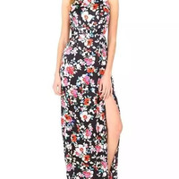 Black Floral Print Sleeveless High Waisted Maxi Dress with Slit