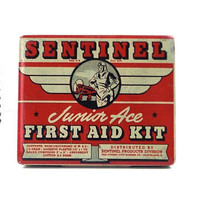 vintage 40s small metal tin box airplane sentinel junior ace first aid kit red white container litho lithograph WWII plane flying aviator