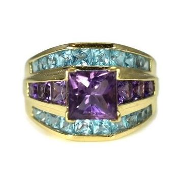 14k Gold Amethyst Blue Topaz Gemstone Ring 4.32 ctw