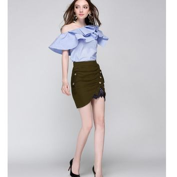 One Shoulder Ruffles Blouse Shirt Women Tops Summer Casual Style Sleeveless Cool Blouse Summer Blusas
