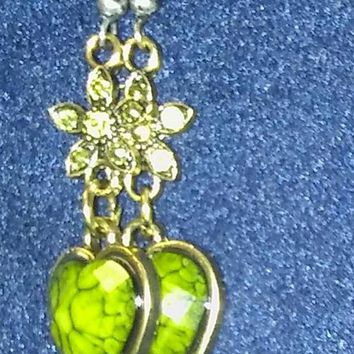 Moss Crystal Flower Dangling a Marbleized Acrylic Faceted Stone Heart Antique Gold Hook Earrings. Free Shipping