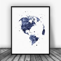 Globe USA Black Art Print Poster