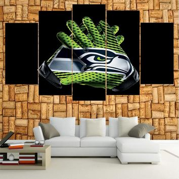 Hot Ball Logo Seattle Seahawks Boys Room Deco Canvas Paintings Modern Home Prints Liveing Room Deco Wall Art Decorate Poster