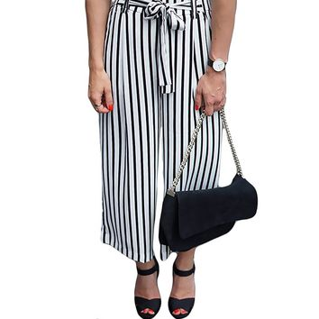 Women Ankle-Length High Waist Cotton Loose  Trousers  0942-29