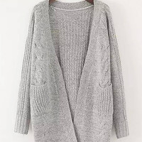 Grey Double Pocket Chunky Cardigan