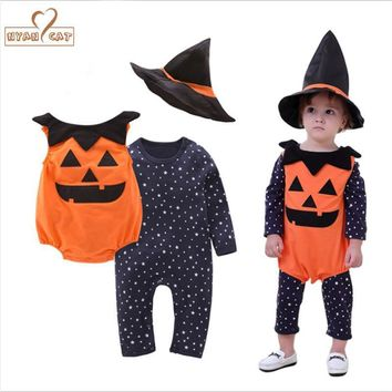 NYAN CAT Halloween baby costume pumpkin clothing set 3pcs stars romper+pumpkin vest+wizard hat infant toddler boys girls clothes