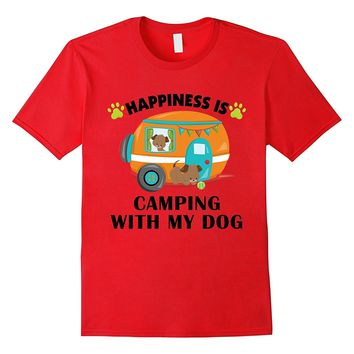I love Camping With My Dog T-Shirt Funny Happiness Trailer