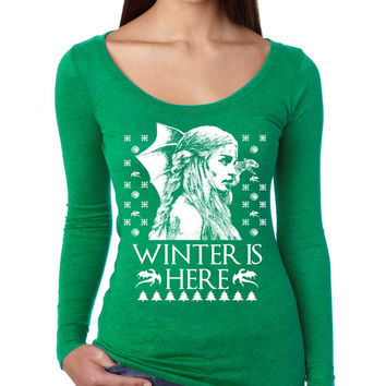 Women's Shirt Winter Is Here Ugly Christmas Sweater Holiday Gift