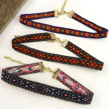 Set of 3 Tribal Pattern Choker Necklaces