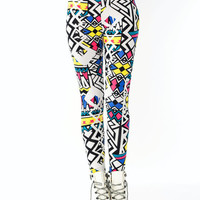 Abstract-High-Waisted-Leggings YELLOWBLK - GoJane.com
