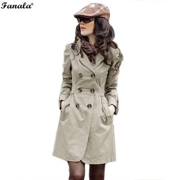 Long Open Stitch Trench Double-breasted Coat