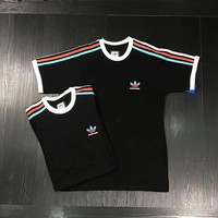 """Adidas"" Harajuku Style Unisex Casual Multicolor Stripe Couple Short Sleeve Cotton T-shirt Top Tee"