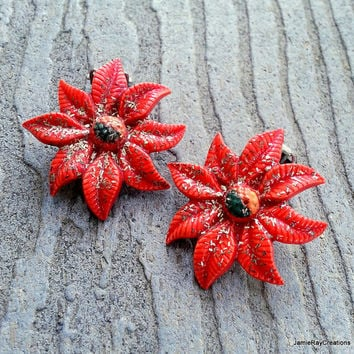 Vintage Poinsettia Clip On Earrings - Plastic Glittered Flower Clip Earrings - Holiday Earrings - Christmas Earrings -Red Poinsettia Earring
