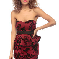 Velvet Roses Strapless Sweetheart Peplum Dress