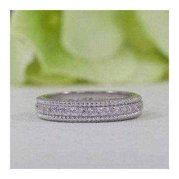 Sterling Silver Vintage Style Full Eternity Cubic Zirconia Wedding Band