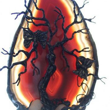 FIRE FLY -- Butterfly Red Tree Of Life Agate | HeartJCreations - Metal Craft on ArtFire