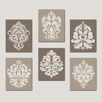 DAMASK Wall Art, Canvas or Prints Brown Beige Bedroom Pictures, Bathroom Artwork, Swirl Scroll Design, Kitchen Decor Set of 6 Home Decor