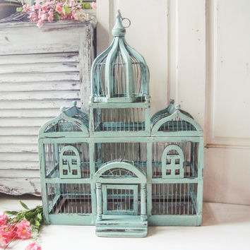 Dusty Blue Large Dome Vintage Birdcage, Antique Blue Distressed Big Triple Dome Bird Cage, Shabby Chic Centerpiece, Wedding and Event Decor