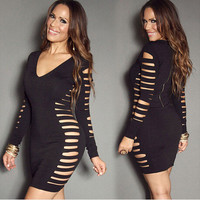 Sexy Mini Prom Dress Black Long Sleeve V-neck Hollow Out One Piece Dress [6339025537]
