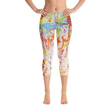 Painted With Emotion Abstract Capri Leggings