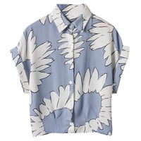 Sunflower Print Short Sleeve Front Button Shirt