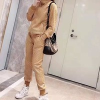 """""""Gucci"""" Woman Leisure Fashion Letter Printing Zipper Long Sleeve Trousers Two-Piece Set Casual Wear"""