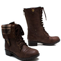 Keep-Tabs-Combat-Boots BLACK BROWN CAMEL - GoJane.com