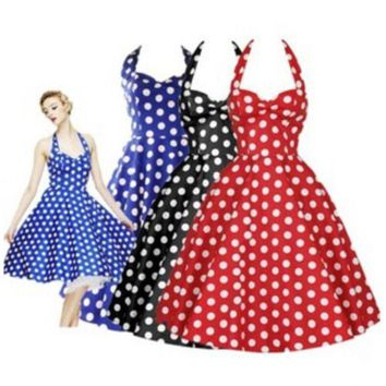 50s Rockabilly Retro Audrey Hepburn Womens Halter Strappy Polka Dot Swing Dress