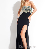 Cut Out Open Back With High Slit Prom Dress By Rachel Allan 6836