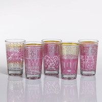 Casablanca Glass Tealight Holders - Pink - Set of 12