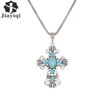 New Arrival Trendy Jewelry Bling Hollow Cross Pendant Statement Necklace Turquoise Silver Long Chain Necklace for Women