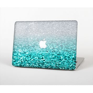 "The Aqua Blue & Silver Glimmer Fade Skin Set for the Apple MacBook Pro 13"" with Retina Display"