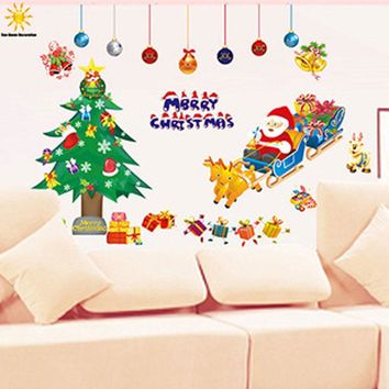 Christmas Santa Claus Window Sticker Nursery Glass Window Wall Stickers For Kids Rooms Bedroom Living Room Home Decor Stickers
