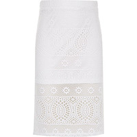River Island Girls white lace pencil skirt