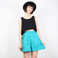 Vintage High Waisted Shorts 1980s 80s Shorts New Wave Surfer Shorts Bright Teal Green Tie Dye Shorts Tie Dyed Festival Boho M Medium L Large