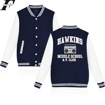 Trendy LUCKYFRIDAYF 2018 Stranger Things Hawkins Middle School AV Club Baseball Jacket Men/Women Print College Style Clothes Plus Size AT_94_13