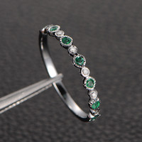Natural Emerald Diamond Wedding Band Half Eternity Anniversary Ring 14K White Gold