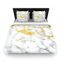 "KESS Original ""Gold Flake"" Marble Metal Woven Duvet Cover"
