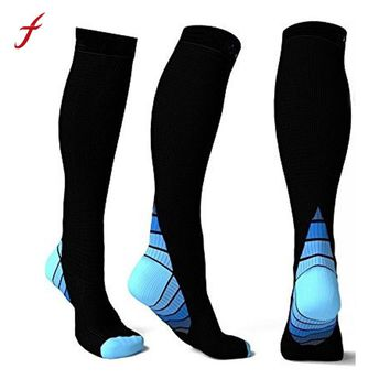 Fashion  New Men Compression Socks  Fit  Breathable Long  Socks  for Male  Travel Boost Stamina Flexible Long Sock meias