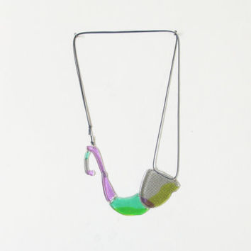 Green Purple Statement Bib Necklace, Articulated Necklace, Modern Urban Jewelry, Plastic Bold Necklace, Unique Gift for Her, Clear Resin